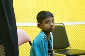 Young Burmese girl receives hearing aids
