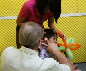 Dr. Woodruff takes ear mold impression