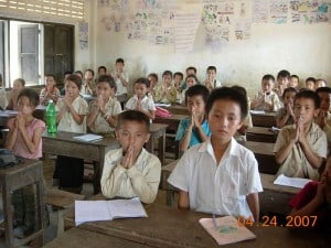 "Laos students do the ""wai"""