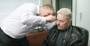 Exam showing patient at able hearing
