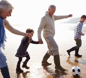 Grandparents Playing Soccer With Grandkids