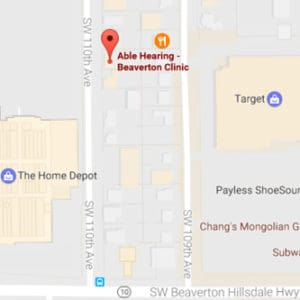 Map Image of Able Hearing Beaverton Clinic